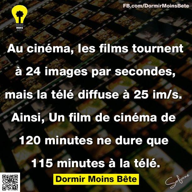 Au cinéma, les films tournent à 24 images par seconde, mais la télé diffuse à 25 images par seconde. Ainsi, un film de cinéma de 120 mn ne dure que 115 mn à la télé.