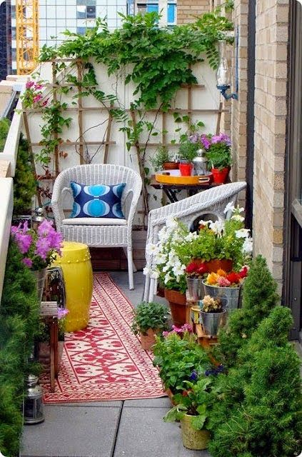 Tiny, tiny balcony looks great with the addition of color