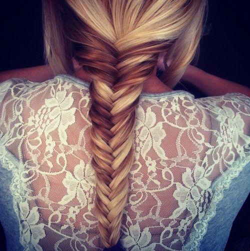 Fishtail braid & lace back shirt.