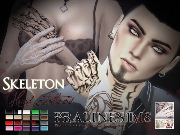 The sims resource skeleton hand tattoos by pralinesims for Hand tattoo download