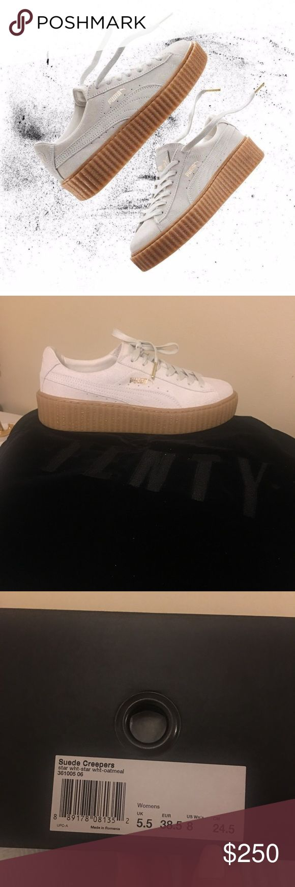FENTY x Rihanna Puma Suede Creeper Star White Brand NEW! never been worn FENTY x Rihanna Puma Suede Creeper Star White with Gum bottom Womens Size 8 Fits true to size! These shoes are my absolute favorite! It's half a size too big on me😢 they're sold out everywhere, believe me I check every day 😩 Puma Shoes