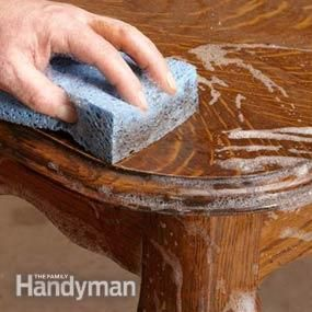 A thorough cleaning is an important first step in any furniture renewal project. Removing decades of dirt and grime often restores much of the original luster. Kevin says it's hard to believe, but it's perfectly OK to wash furniture with soap and water.
