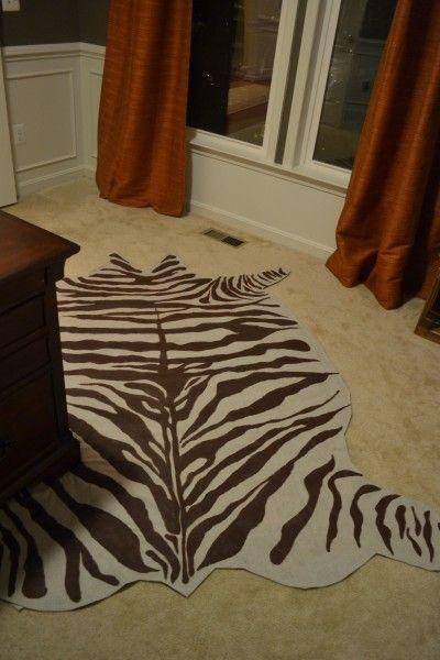 diy rug from drop cloth in a zebra hide pattern