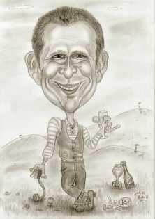 Golfspieler, Karikatur zeichnen lassen, als Geschenkidee zum Geburtstag!