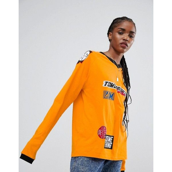 ASOS Top with Long Sleeve and Branding Badges ($23) ❤ liked on Polyvore featuring tops, orange, long sleeve tops, night out tops, tall tops, jersey top and asos tops