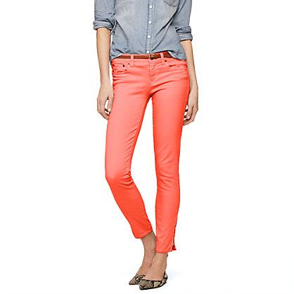 J.Crew- Garment-dyed ankle-zip toothpick jean, they have mint too: Ankle Zip Toothpick, Colored Jean, J Crew, Jeans, Jcrew, Toothpick Jean