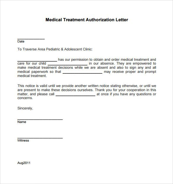 Sample Medical Treatment Authorization Letter Free Examples Consent For  Minor Travel Children