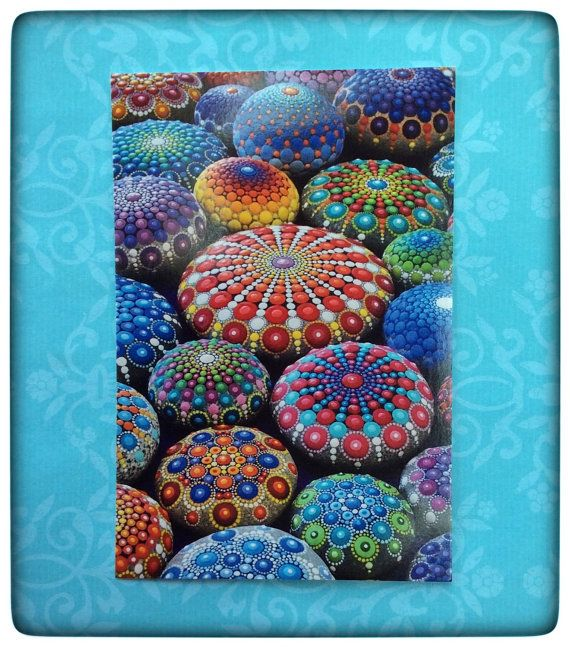 Note- this is a postcard NOT an actual mandala stone.  Here is a stunning, vibrant postcard featuring one of my favourite paintings.  These are