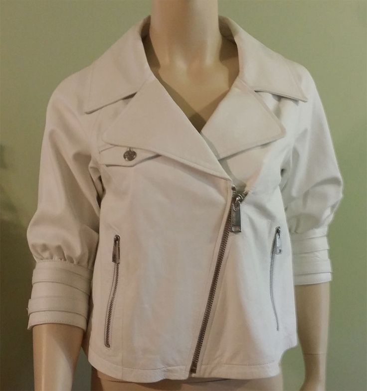 JUST SWEET womens white leather jacket, asymmetric front, below elbow sleeves XS #JustSweet #Motorcycle