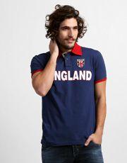 Camisa Polo Kappa Bravas Inglaterra - Marinho+Vermelho