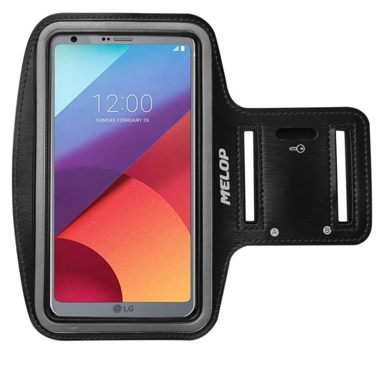 MELOP Armband for LG G6 LG LV3, 5.7inch Professional Light Weight Soft Sweat Resistant Sports Jogging Gym Arm Band with Key Holder Card Cash Pocket - Black