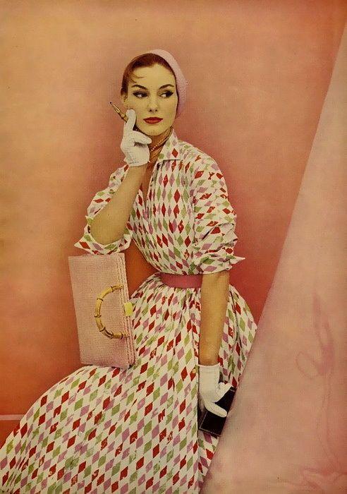 1955 harlequin print dress
