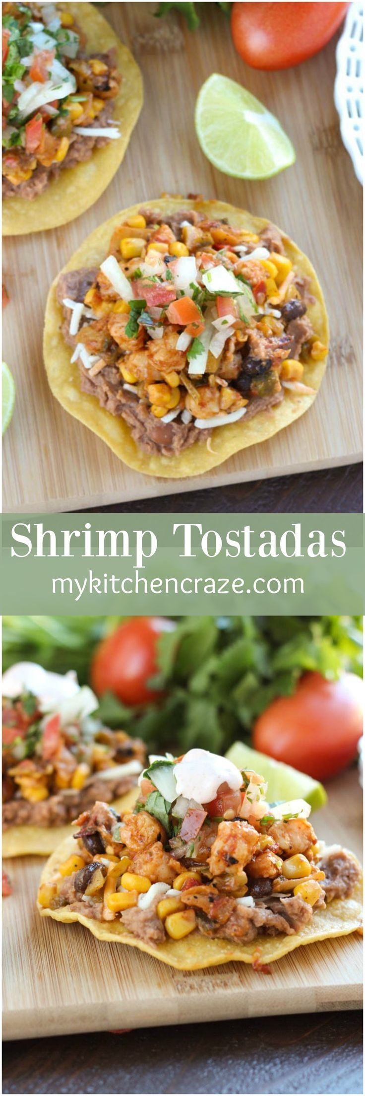 Shrimp Tostadas ~ mykitchencraze.com ~ Enjoy these delicious and scrumptious Shrimp Tostadas in your home. Filled with all sorts of veggies and delicious shrimp. These tostadas will be a winner in your home. #ShrimpItUp [ad]
