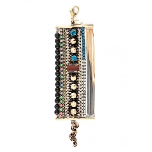 Iosselliani - Multiwires Brass Bracelet with Black Agate