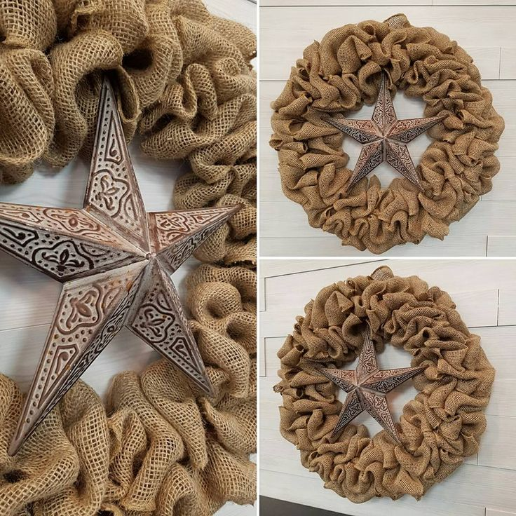 Burlap Wreath with Star  #goldenforrest #goldenforrestcreations #burlap #burlapwreath #handmade #wreathideas #frontdoordecor #star #countrydecor #rustic