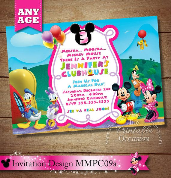 HUGE SELECTION Mickey Minnie Mouse Clubhouse Invitation, Mickey Minnie Daisy Donald Goofy Birthday Invitation, Clubhouse Birthday Invitation