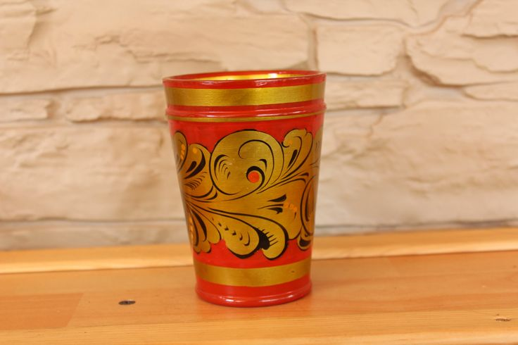 Traditional Russian Wooden Cup, Wooden Khokhloma Glass, USSR, Soviet by…