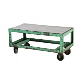 heavily reinforced american vintage industrial all-welded angled steel low-lying mobile factory die cart with intact bassick cast iron wheels