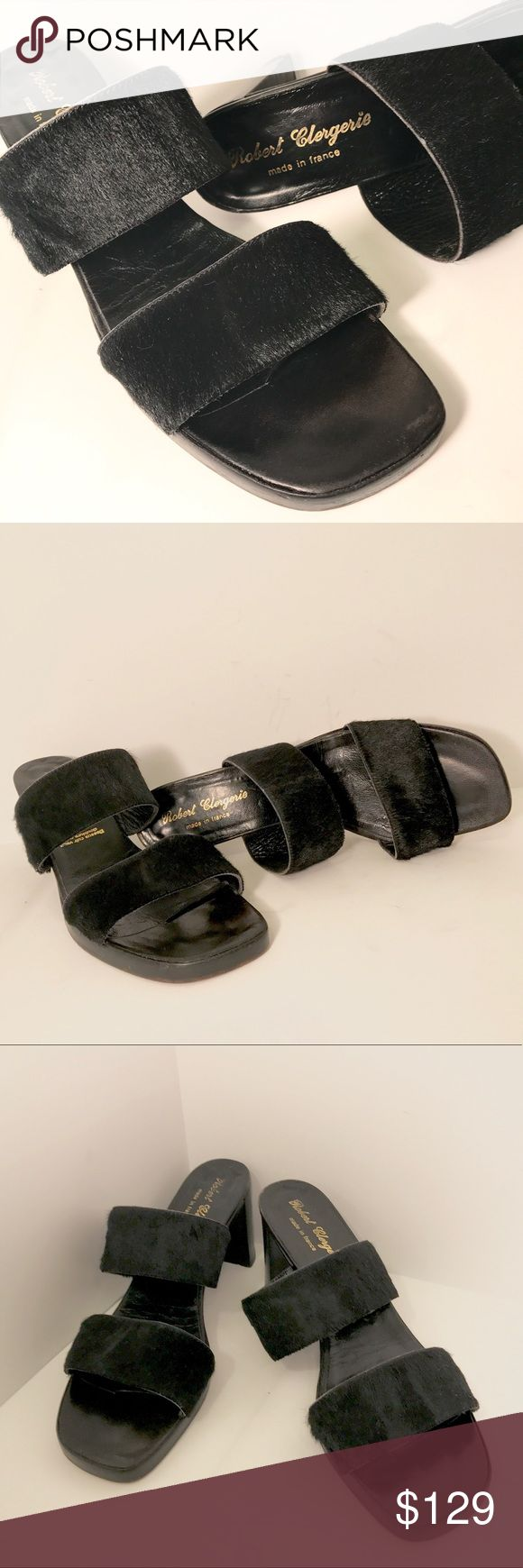 """Robert Clergerie black open toe sandals size 8 Robert Clergerie black pony hair open toe mule sandals. Slip on construction. Calfskin leather lining. Squared toe line. Chunky heel approx 2.5"""" Made in France. Size 8 Robert Clergerie Shoes Sandals"""