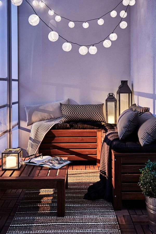 Applaro Storage Bench Outdoor Brown Stained Brown Width 50 3 8 Ikea In 2020 Small Apartment Balcony Ideas Apartment Balcony Decorating Balcony Decor