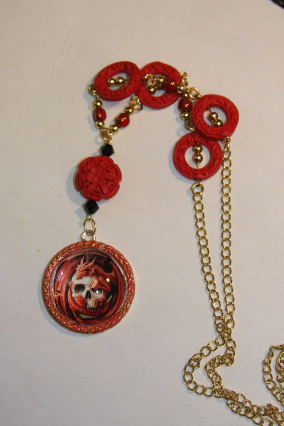 Stunning red dragon and skull red pendant red by hudathotjewelry, $25.00