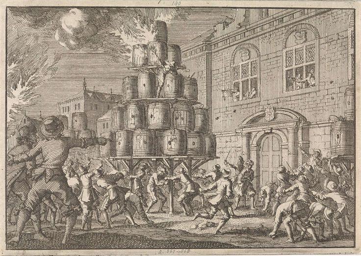 Jan Luyken | Het volk van Brussel belet de ontsteking van een vreugdevuur opgericht ter ere van de overwinning op de Engelsen in de Vierdaagse Zeeslag, 1666, Jan Luyken, Pieter van der Aa (I), 1698 |