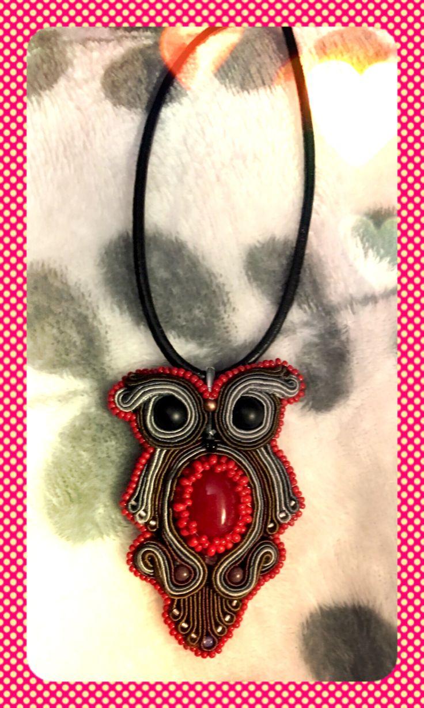 Soutache  necklace  rękodzieło owl