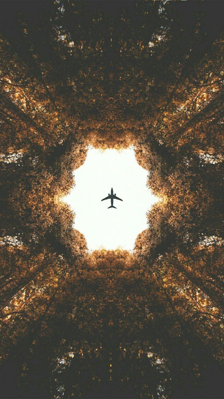 Wallpaper, lockscreen, árvores, vintage, avião
