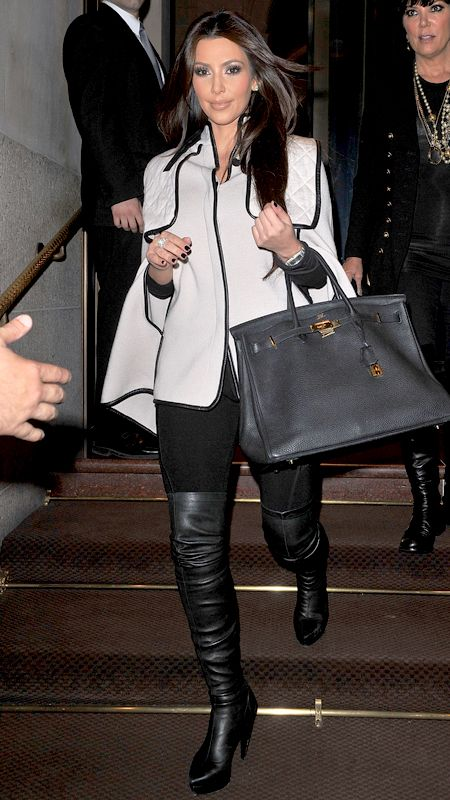 Kardashian showed us she's a street style pro when she stepped out in New York City in a black and cream ensemble.