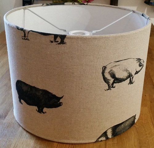 Drum Lampshade in Pigs fabric from Radiance Designs