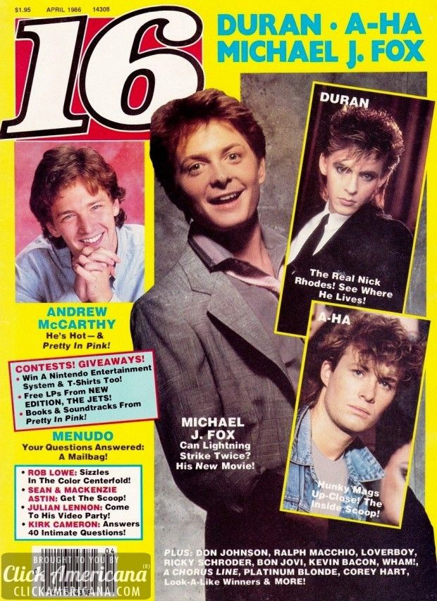 Sixteen Covers Of 16 Magazine From The 80s Vintage Celebrities