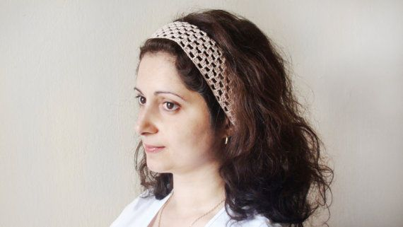 Crochet Beige Headband Hand knitted от HelenKurtidu на Etsy, €8.00