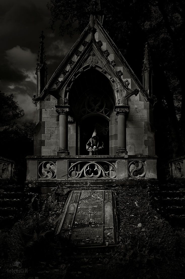Gothic, Cemetery, Monk, Friedhof, Collage, Digital Paint