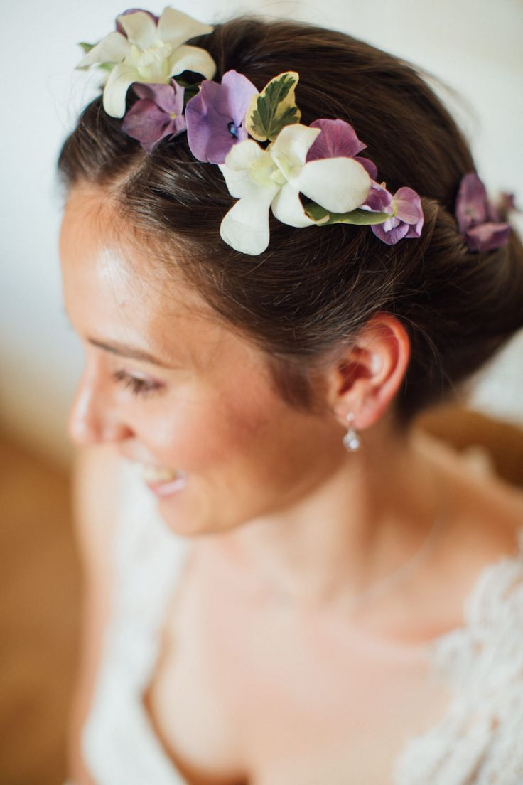 White Purple crown- wedding flowers crown - ©Alex Tome Photography