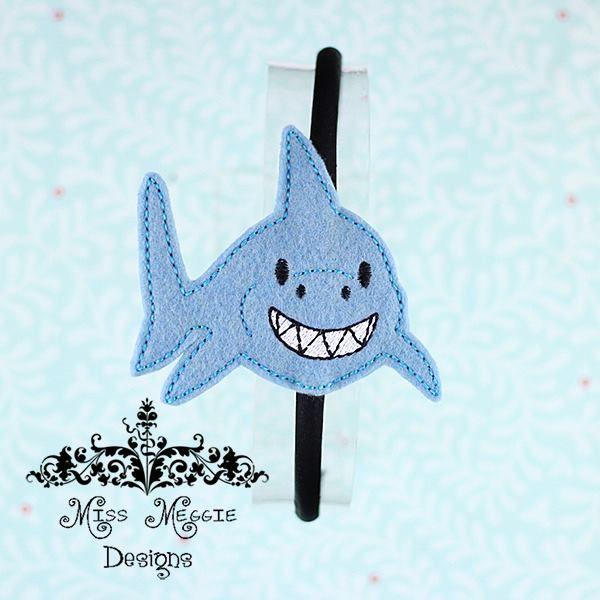 Happy Shark headband slide on ITH embroidery design