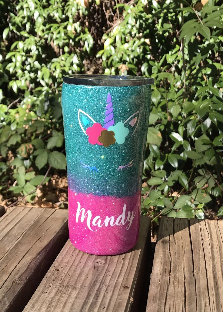 Personalized unicorn tumbler, ombré ozark trail tumbler, popular unicorn cup, 20oz stainless steel tumbler, hot pink and turquoise glitter by EdmistonCustomCrafts on Etsy