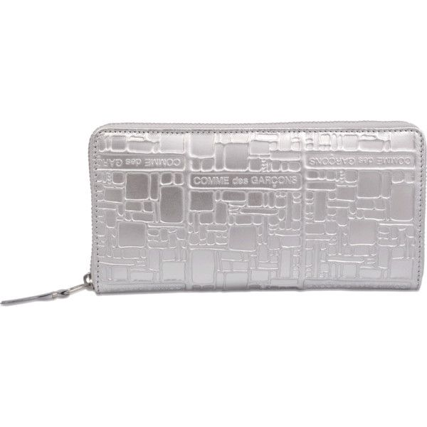 Comme Des Garçons Embossed Logotype SA0110EG Wallet (400 CAD) ❤ liked on Polyvore featuring bags, wallets, silver, comme des garcons bag, comme des garcons wallet and comme des garçons