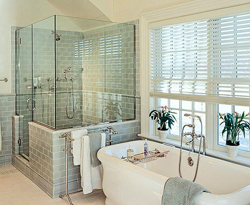 Master Bath inspiration, soaking tub, blue/green subway tile...