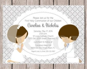 PRINTABLE First Holy Communion Invitation for Siblings, Twins, Cousins / Choose Hair Color / Choose Boy or Girl / Silver Gray / You Print