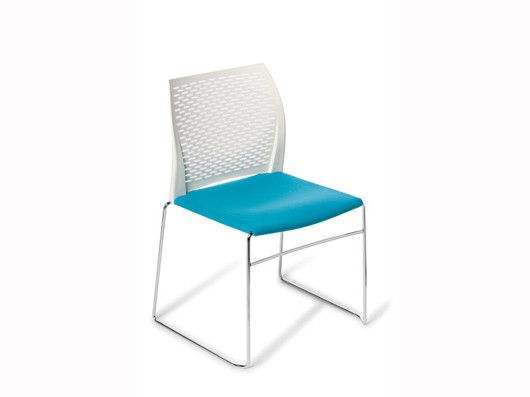 Net Stackable :Stylish, versatile, meeting or community seating.  Net features a contemporary slim-line aesthetic with a sturdy rod sled frame and perforated feature backrest. Available in a range of modern polypropylene colours, with option to upholsterer seat. It is stackable to 30 high on a storage trolley. http://www.montagenz.co.nz/products/cat/seating/cat1/hospitality-1/p/net-chair/