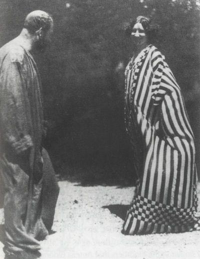 Gustav Klimt & Emilie Louise Flöge, 1914. Emilie is wearing one of Gustav Klimt's dress shirts that he made for her.