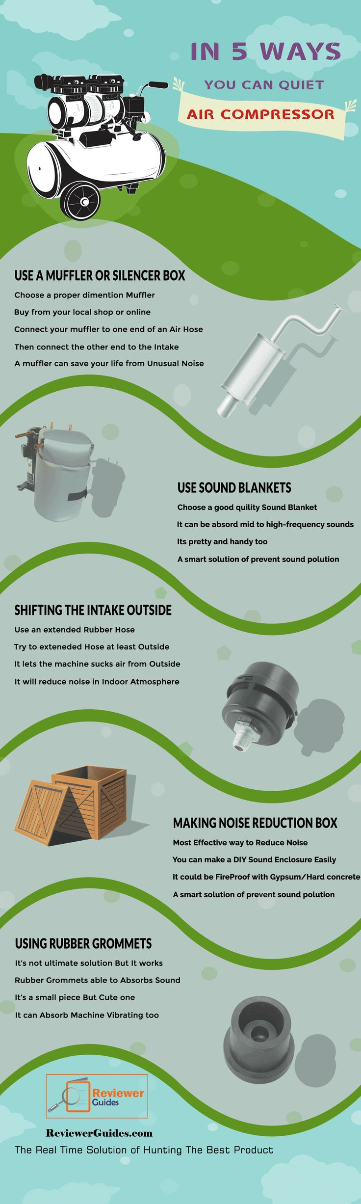 In Multiple Ways How To Quiet Air Compressor infographic