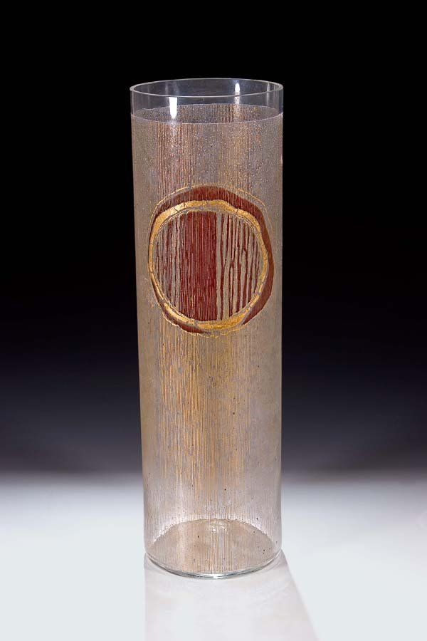 Bohumil Cabla, the vase, 1968, colorless glass, abstract decoration in gold, colorless and brown red transparent enamel, H: 36,0 cm, Czechoslovakia