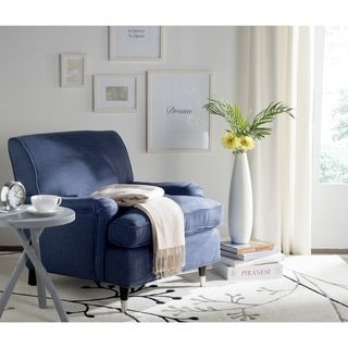 add timeless elegance and comfort to any room in your home by choosing this affordable safavieh chloe navy linen club arm chair