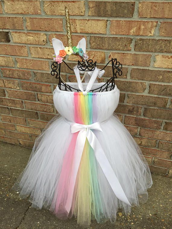Unicorn Tutu Dress with Headband   Rainbow Tutu Dress