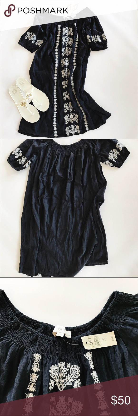 NWT LOFT  La Bonita dress LOFT off the shoulder navy blue dress with embroidered sleeves and front.  Super cute and very comfortable. Size medium petite but dress runs a bit large. LOFT Dresses