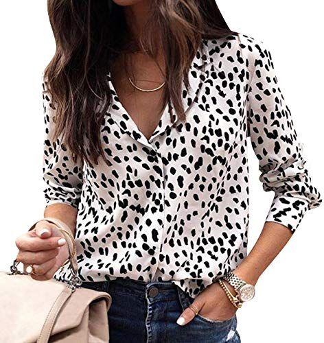 3aaa8d9cc995 Chemisier Leopard Femme Manche Longue Chemise à Pois Mousseline de Soie  Femme Blouse Travail Manches Longues Col V Cintrée Fluide Chemisiers  Habillé Chics ...