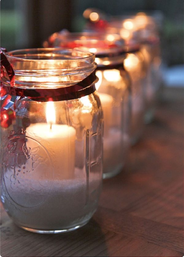 Christmas candle gift using a mason jar