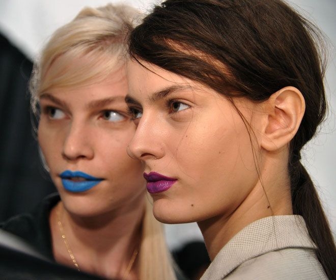 Richard Chai Love Spring 2012. I love blue and violet lips.Fashion Weeks, Richardchai, Makeup, Colors Lips, Richard Chai, Bold Colors, Purple Lips, Bold Lips, Beautiful Trends