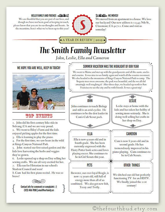 Christmas Newsletter Template In Pdf For Print Year In Etsy Newsletter Templates Christmas Newsletter Lettering